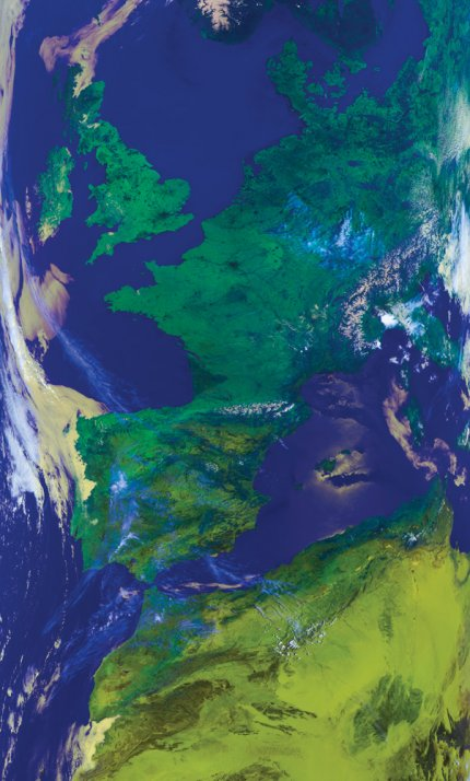 Metop-A AVHRR false colour composite image (channels 1, 2 and 4) showing Europe and northern Africa