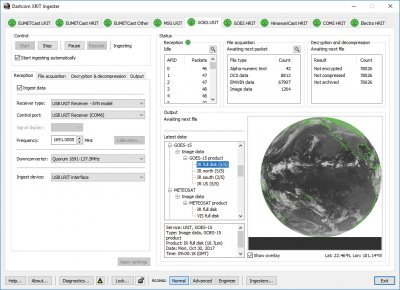 Optional Dartcom XRIT Ingester software for ingesting LRIT/HRIT data in conjunction with a dish antenna and receiver