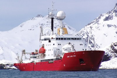 Dartcom HRPT/AHRPT System on the British Antarctic Survey research vessel RRS James Clark Ross, with a radome-enclosed 1.3m active-stabilised antenna (circled)