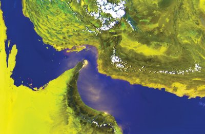 NOAA HRPT false-colour image (channels 1, 2 and 4) showing the Persian Gulf