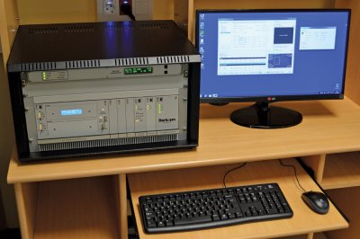 Receiver rack, high-rate demodulator and ingest PC running Dartcom Polar Orbiter Ingester software