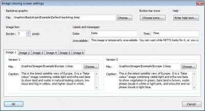 Image viewing screen settings window in the MITTS Workshop software, allowing images to be changed or text updated