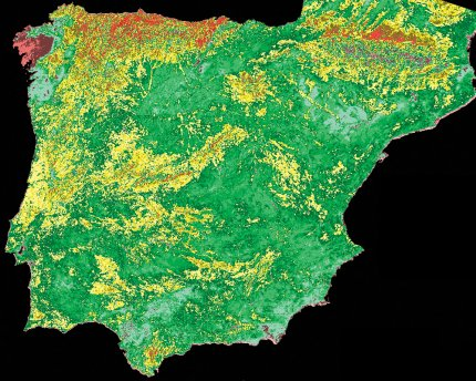 Normalised Difference Vegetation Index (NDVI) product created from a NOAA AVHRR image of Spain and Portugal using the Projection Transformation, Formula Palette and DEM Masking functions of the Dartcom iDAP software