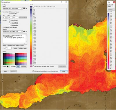 DEM masked sea surface temperature product with key and formula palette window set up for MCSST