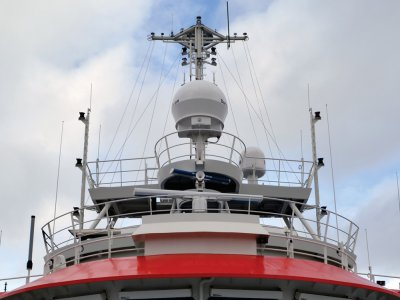 Dartcom 1.5m active-stabilised marine antenna installed on the oceanographic research vessel BAP Carrasco