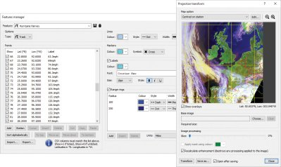 Feature overlays manager and cartographic projection transformation window
