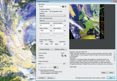 Navigated image with reference points and cartographic reprojection window