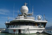 Dartcom 1.3m active-stabilised marine antenna installed on the NERC research vessel RRS Discovery